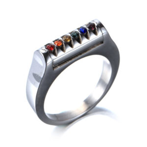 Size 5-9 Stainless Steel Solitaire Ring Rainbow Gay Lesbian Wedding Candy Colors 3