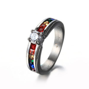 Size 5-9 Stainless Steel Solitaire Ring Rainbow Gay Lesbian Wedding Candy Colors 4