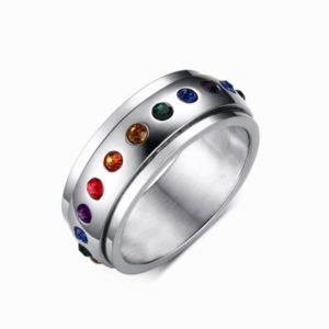 Pride Shack - Rainbow CZ Spinner Ring - LGBT Lesbian Gay Pride Ring Steel 1
