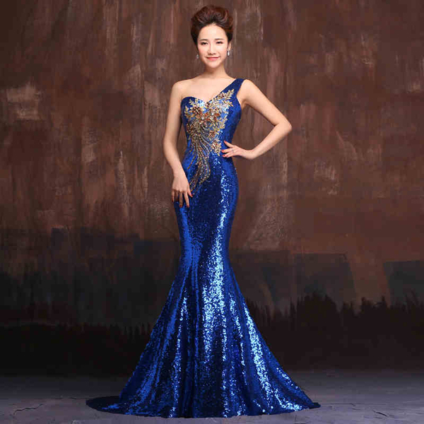 Drag Queen Plus Size 3x 4x 22 24 Stage Dress Gown Sequin Blue Stretch