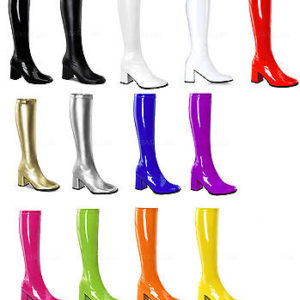 13 Colors! 3inches Womens Block Heel GOGO BOOTS Side Zip CROSSDRESSER/DRAG QUEEN 8-16