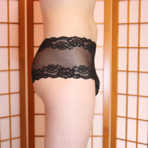 END OF STOCK Wide Lace hip-huggers, panties for men, french knickers in floral black lace